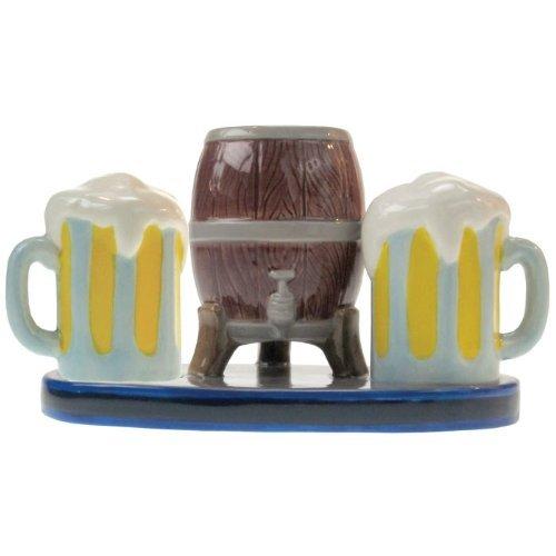 MWAH Beer Mugs Salt and Pepper and Beer Keg Shape Toothpick Holder Set