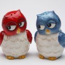 Whimsical Red and Blue Owl Couple Salt and Pepper