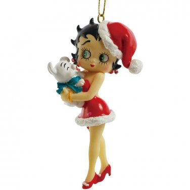 Christmas Betty Boop in Santa Outfit w/ Pudgy Dog Ornament Holiday Decoration