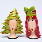 Whimsical Dolly Mama Christmas Tree and Gift Ladies Salt and Pepper