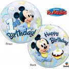 "Disney Mickey Mouse 1st Happy Birthday 22"" Bubble Balloon Party Supply"