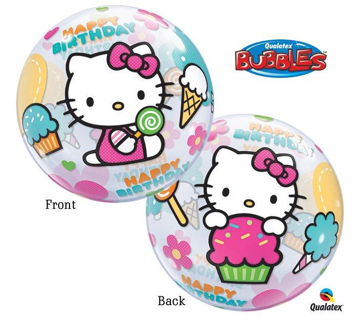 """Hello Kitty Happy Birthday 22"""" Bubble Balloon Party Supply"""