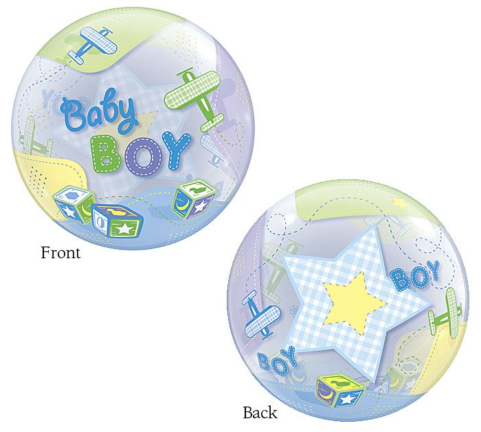 """Baby Boy Airplane, Star and Block blue 22"""" Bubble Balloon Party Supply"""