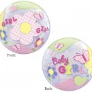 """Baby Girl Flower Butterfly Pink 22"""" Bubble Balloon Party Supply"""