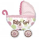 "Baby Girl! Polka Dot Baby Buggy 31"" Foil Balloon Party Supply"