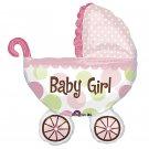 "Baby Girl! Polka Dot Baby Buggy 31"" Foil Balloon Party Supply"