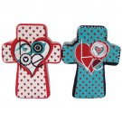 White and Blue Hope and Love Cross Shaped Salt and Pepper