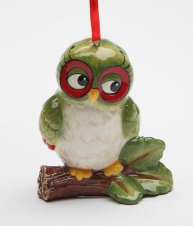 Whimsical Christmas Owl On The Tree Branch Ornament Holiday Decor