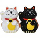 Black and White Good Luck Cat Couple Salt and Pepper