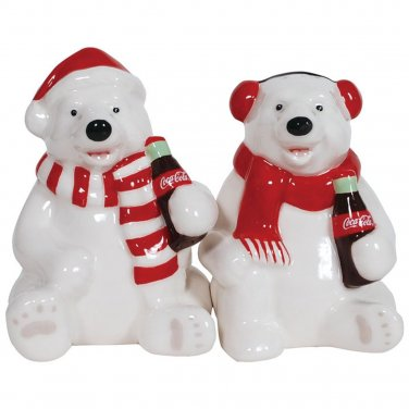 Coca Cola Christmas Holiday Polar Bears Salt and Pepper Shaker Set Kitchen Ware