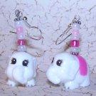 White Elephant Earrings