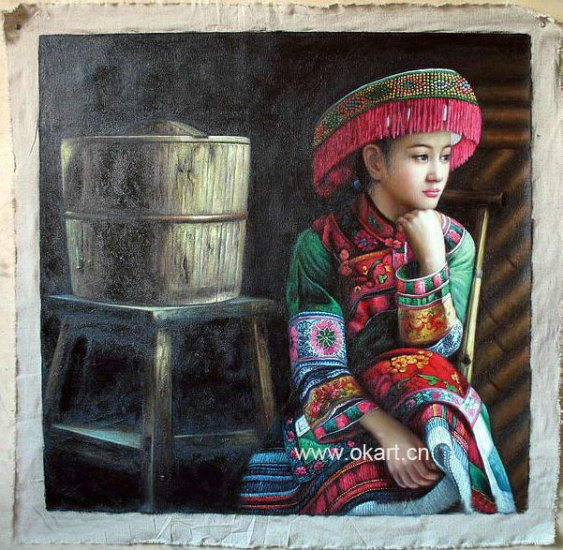 """Oil painting(Chinese people-001,24""""*36"""")"""