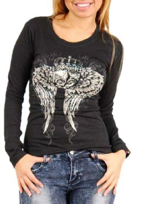 Ladies black winged Graphic Long Sleeve Shirt