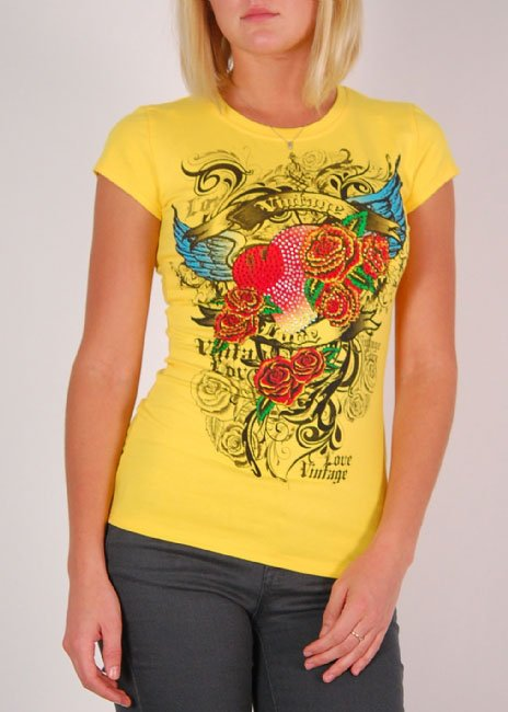 Ladies yellow grapic top