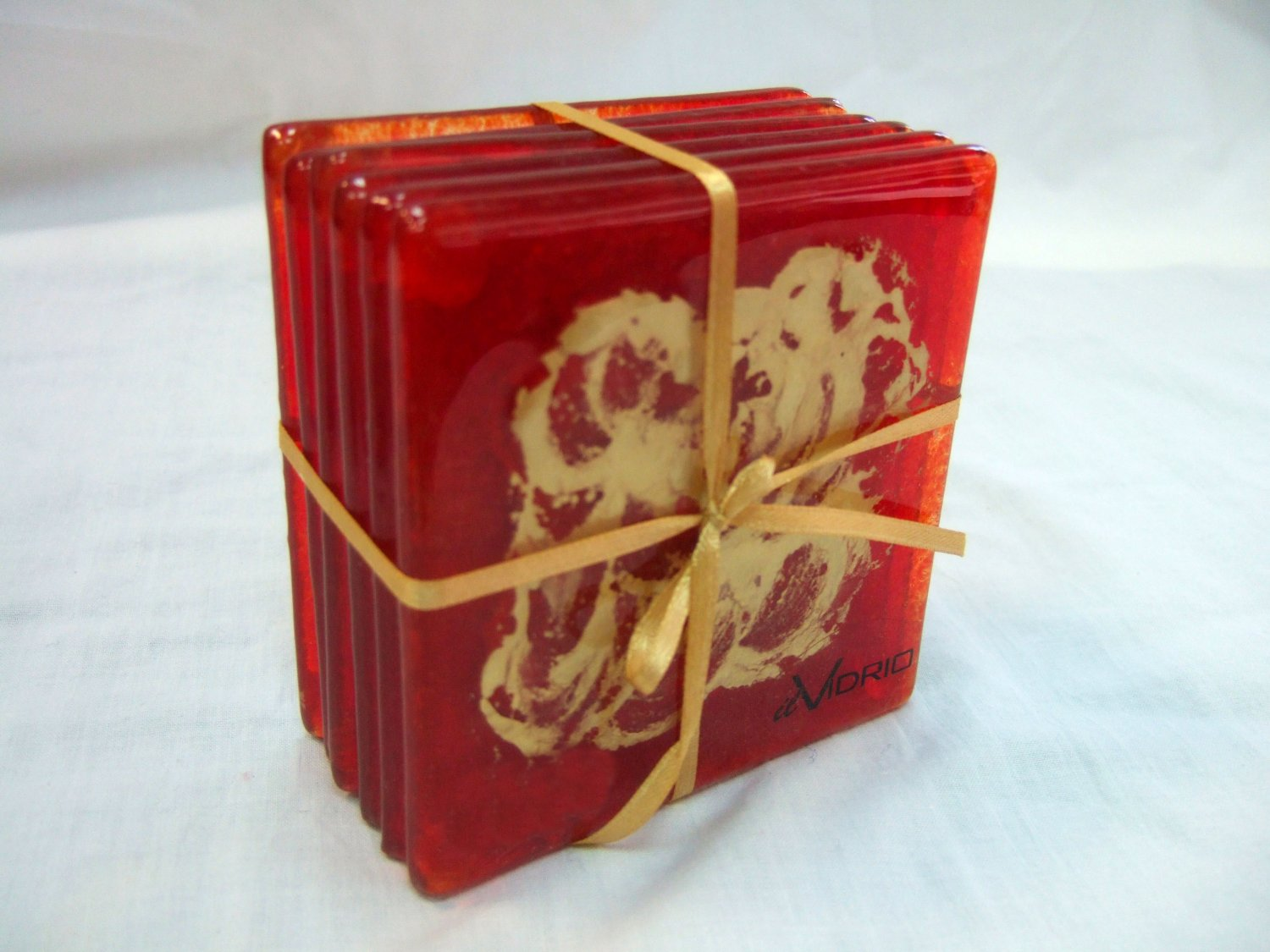 Red and gold fused glass coasters