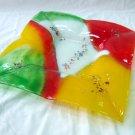 Fused glass rainbow plate