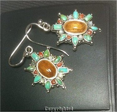 Turquoise,Coral,Mother of Pearl MOP & Polished Wood Dangle Earrings 925 Silver