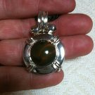 Lab Created Amber Sliding 925 Sterling Silver Pendant & Rope Cord Necklace