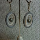 Lavender & White MOP with Silver FAUX Pearl Dangle LeverBack Earrings 925 Silver