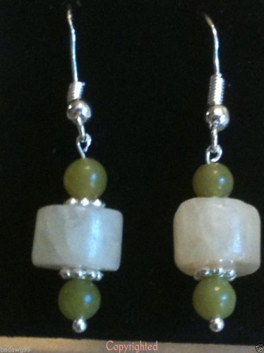 925 Sterling Silver Yellow Jade & Green Aventurine Dangle Drop Earrings Handmade