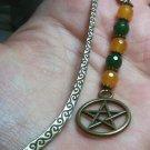 Mini Bookmark Bronze Tone Dangling Yellow & Green Natural Jade, Pentacle Charm