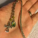 Dangling Sacred Heart Cross Aventurine Bead Chain Silver Tone Mini Bookmark
