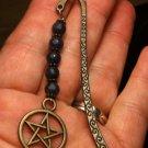 Antique Bronze Tone Bookmark Natural Blue Jade Beads Dangling Pentacle Handmade