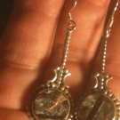Natural Russian Astrophyllite Dangle Drop Earrings .925 Sterling Silver