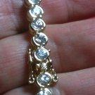 "Bracelet SPARKLING Clear Round Stones .925 Sterling Silver & YG Plating 8"" 8 in"