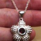 .925 Sterling Silver Natural Garnet Sliding Pendant & Half Moon Earrings Set