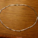 "14.7gm 925 Sterling Silver Tubular Beads Necklace 18"" Lobster Claw Clasp"