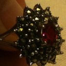 .925 Sterling Silver 0.65ctw CREATED Magenta Ruby Marcasite Ring Size 7.5