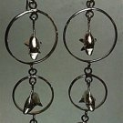 Graduated Triple Circles with Dolphins Dangle Drop Earrings .925 Sterling Silver