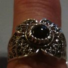 .925 Sterling Silver Black Onyx Ring Filigree Floral Design Sz 8 almost Sz 8.25