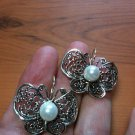 8mm Pearl Butterfly Design Dangle Earrings .925 Sterling Silver Snap Closure