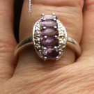 1.22ctw Natural Amethyst Diamond Ring .925 Sterling Silver Ring Sz 7.75 almost 8