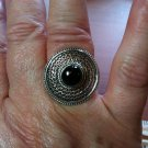 .925 Sterling Silver Black Round Natural Onyx Ring Ornate Design Size 6.5 NWOT