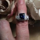 Blue Cubic Zirconia & Clear Cubic CZ Zirconia Cluster Ring 925 Silver Sz 8.5