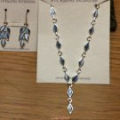 .925 Sterling Silver Blue Catseye Lariat Necklace & Matching Dangle Earrings Set