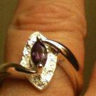 4.50 Grams .925 Sterling Silver 0.62ctw Natural Amethyst & Diamond Ring Size 7.5