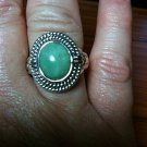 .925 Sterling Silver NATURAL Mint Green Chalcedony Cabochon Ring Size 7.5