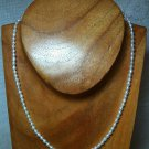 """Natural White Pearl Strand Necklace Adjusts 15.5-17.5"""" 925 Sterling Silver Clasp"""