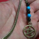 "Black & Ceramic Beads,Pentacle Charm Antique BronzeTone Mini Bookmark ""Handmade"""