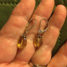 925 Sterling Silver Natural Golden Yellow Citrine LeverBack Dangle Drop Earrings