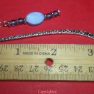 Opal Opalite and Natural Amethyst Beads Silver Tone MINI BookmarkLength 3 3/8""