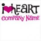 "I Heart ""Your company name"" T Shirt 100% Cotton"