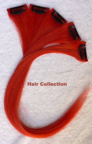 """12""""Red Human Hair Clip in Extensions 5pcs"""