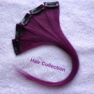 "12""Purple Human Hair Clip in Extensions 5pcs"