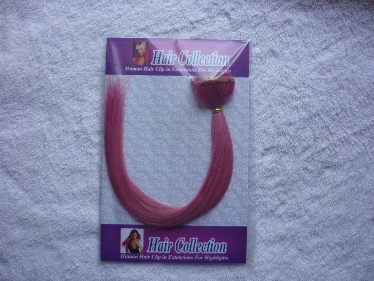 """12""""Pink Human Hair Clip in Extensions 5pcs"""