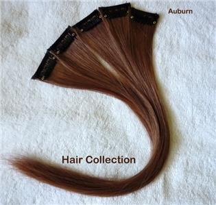 """12"""" Red, Auburn Remy Human Hair Clip In On Extensions for Highlights(5pcs)"""